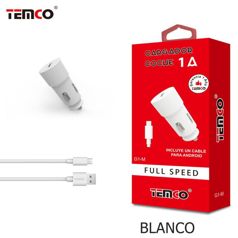 Car Charger 1A + Micro USB 1A 1M White