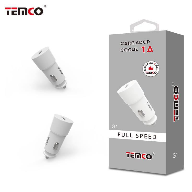 White 1A Car Charger Adapter