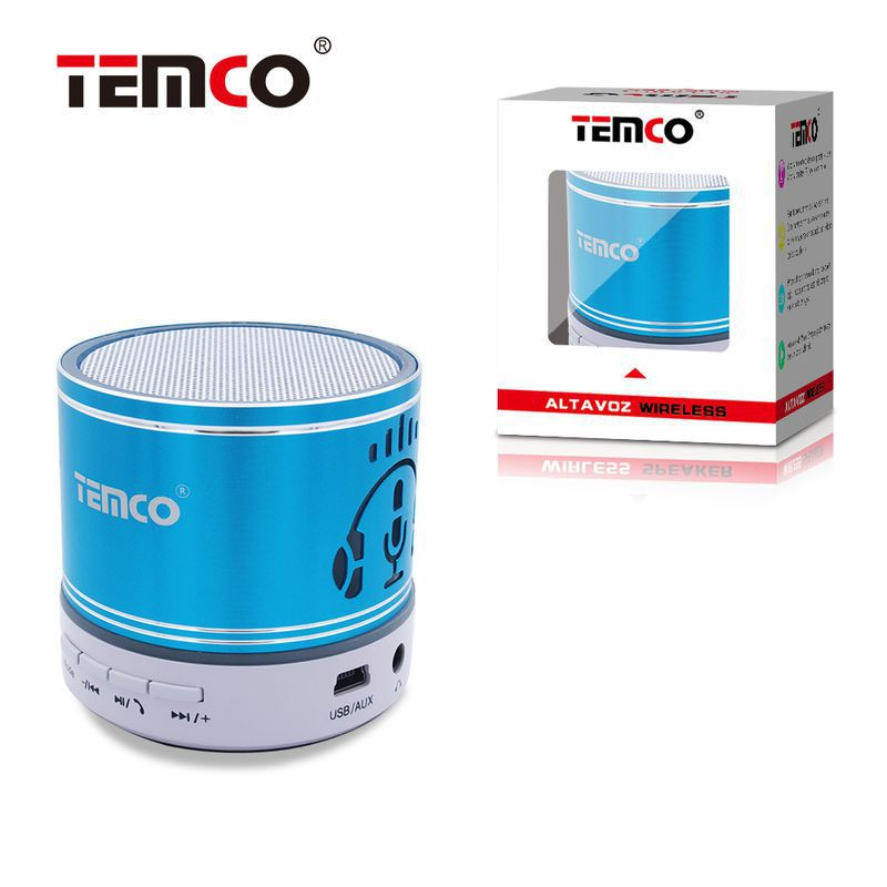 mini altavoz bluetooth cascos azul
