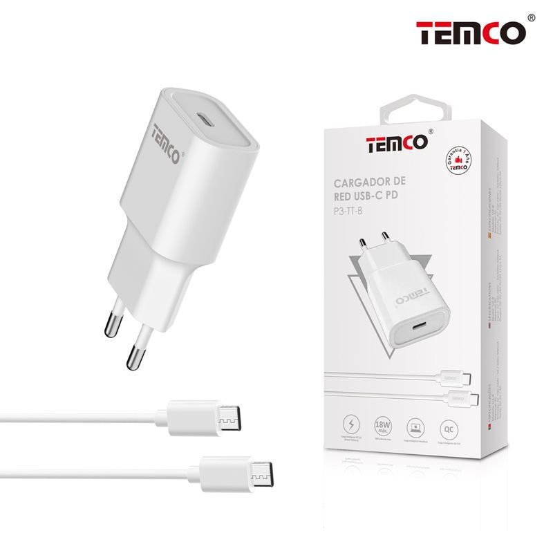 pack cargador red usb c 3a + tipo c 3a blanco