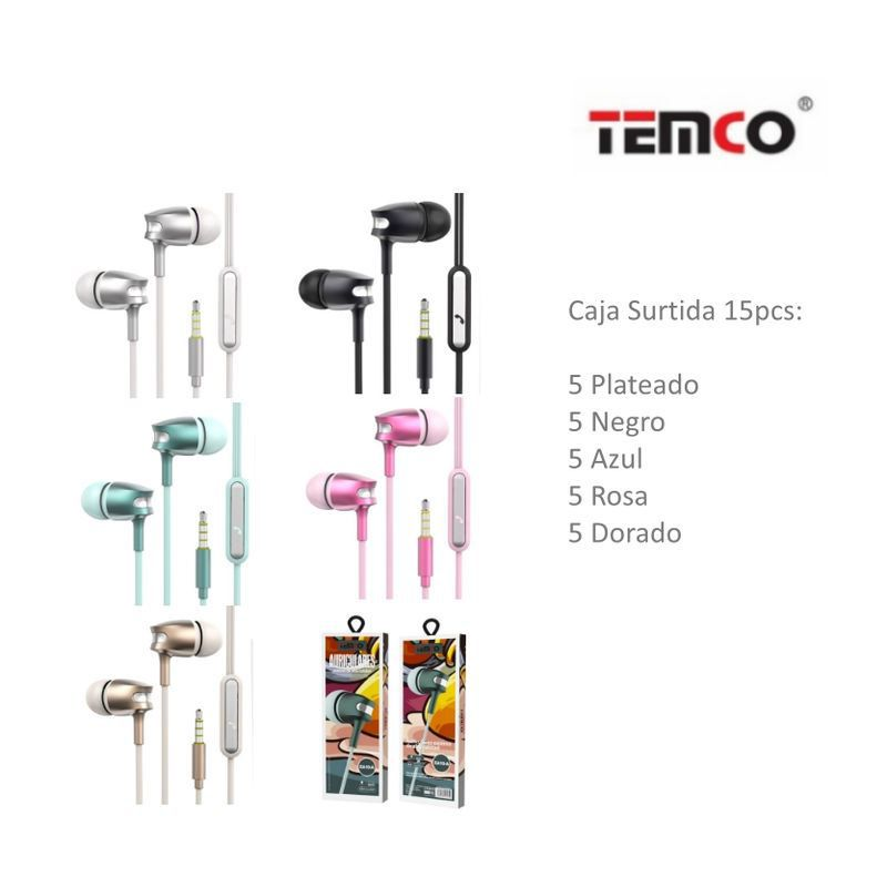 auriculares 3.5mm ea10 pack surtido 15 unds.