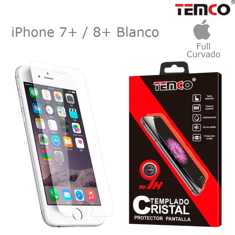 cristal full 3d iphone 7+ / 8+ blanco