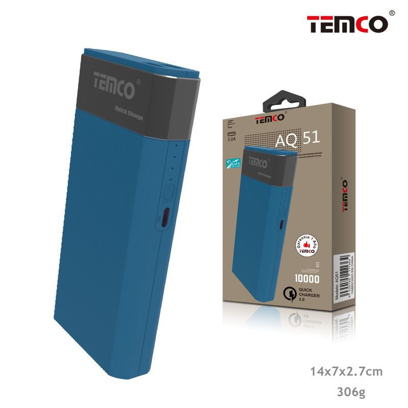 External Battery 10,000 mAh QC3.0 Type C Blue