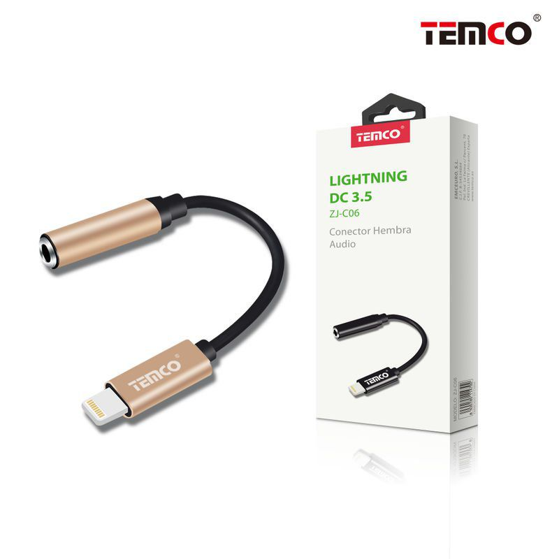 cable conector hembra audio lightning dorado