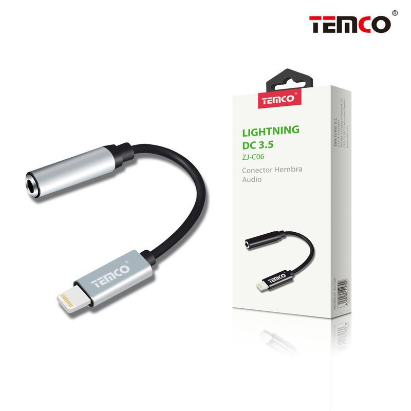 cable conector hembra audio lightning plateado
