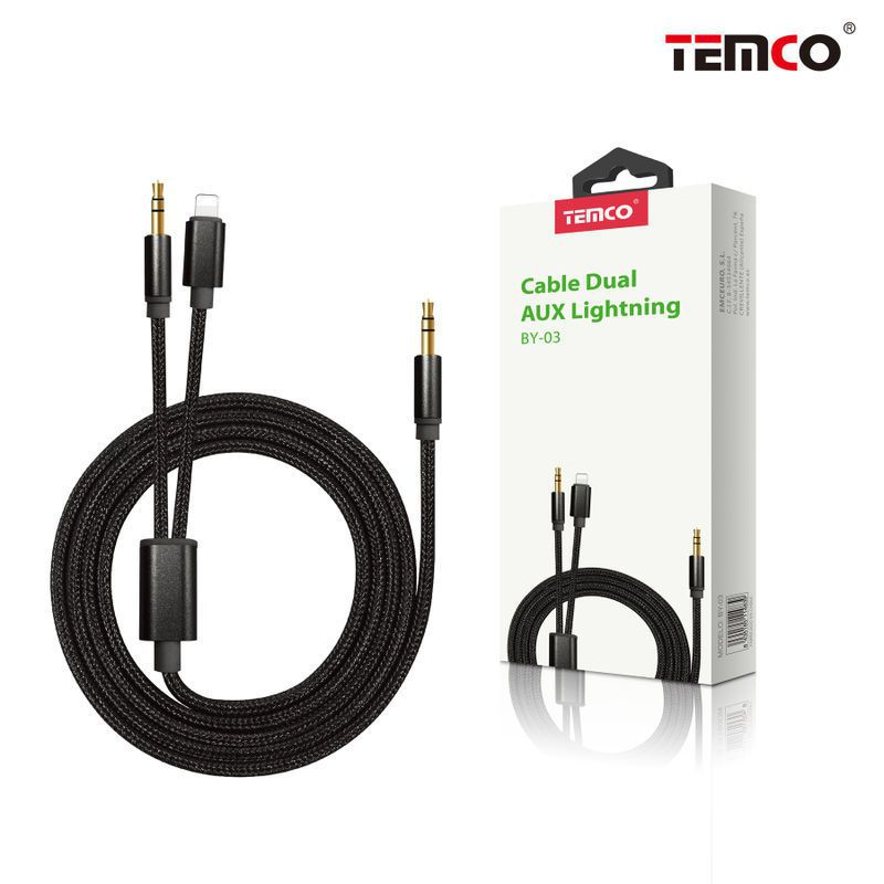 cable dual aux lightning negro