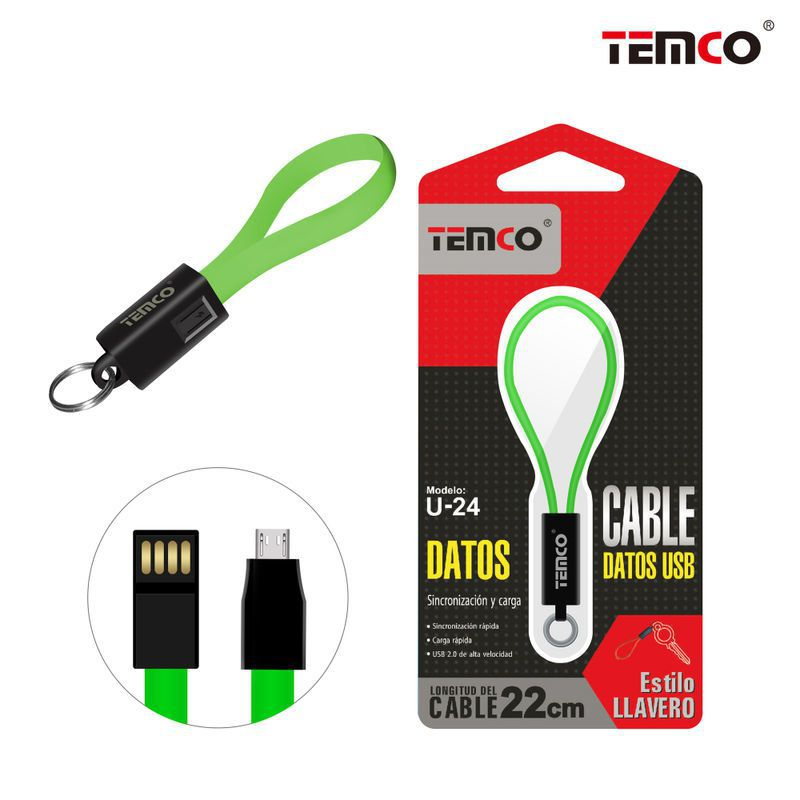 Green Micro USB keychain cable