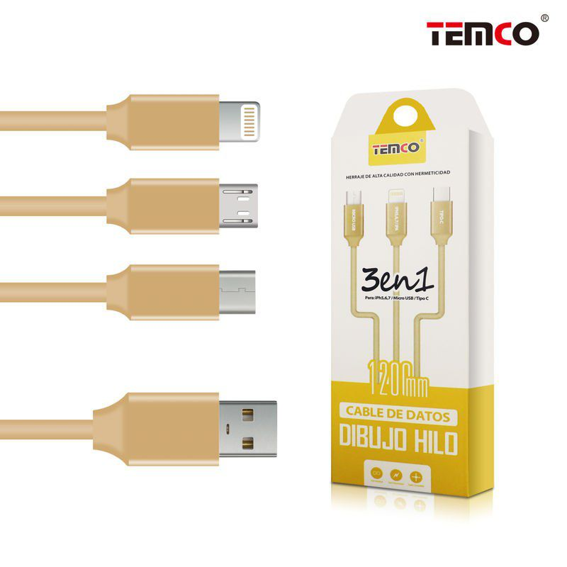 Cable 3 in 1 Lightning-Micro USB-Type C Gold