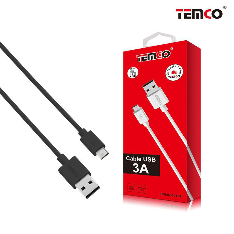 Cable 3A 1m Micro USB 5P Negro