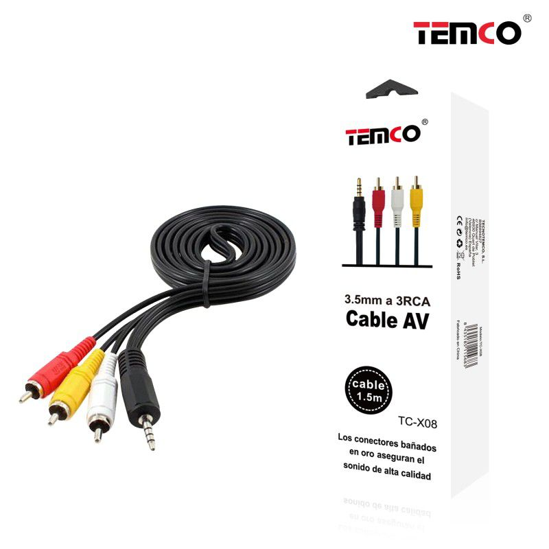 Cable AV 3.5mm A 3RCA 1.5m
