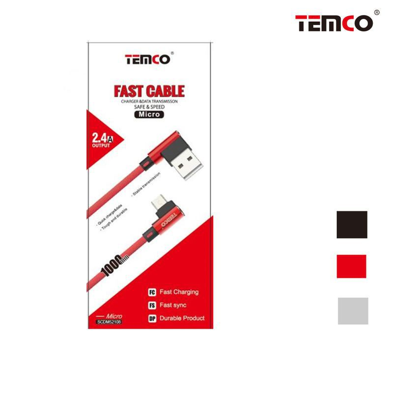 Cable Micro USB 2.4A 1m Negro