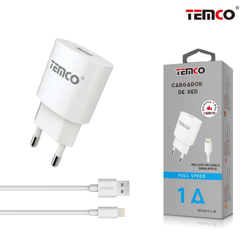 cargador u 5v 1a + apple  5v 1a 1m blanco