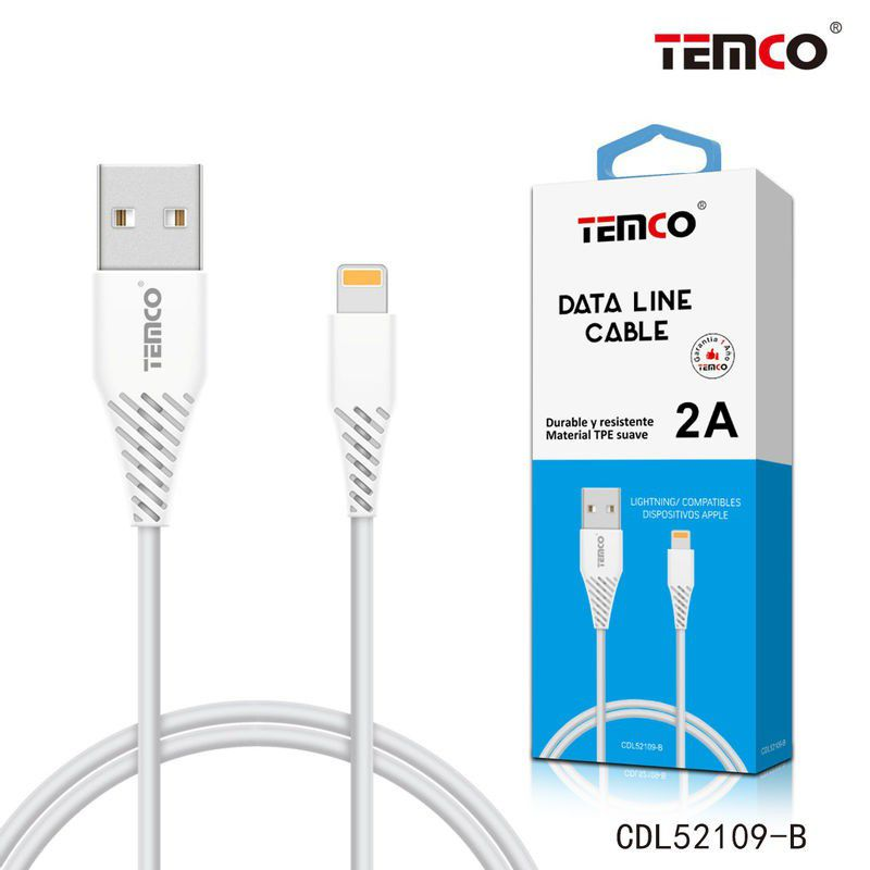 Cable TPE 2A 1m Lightning Blanco