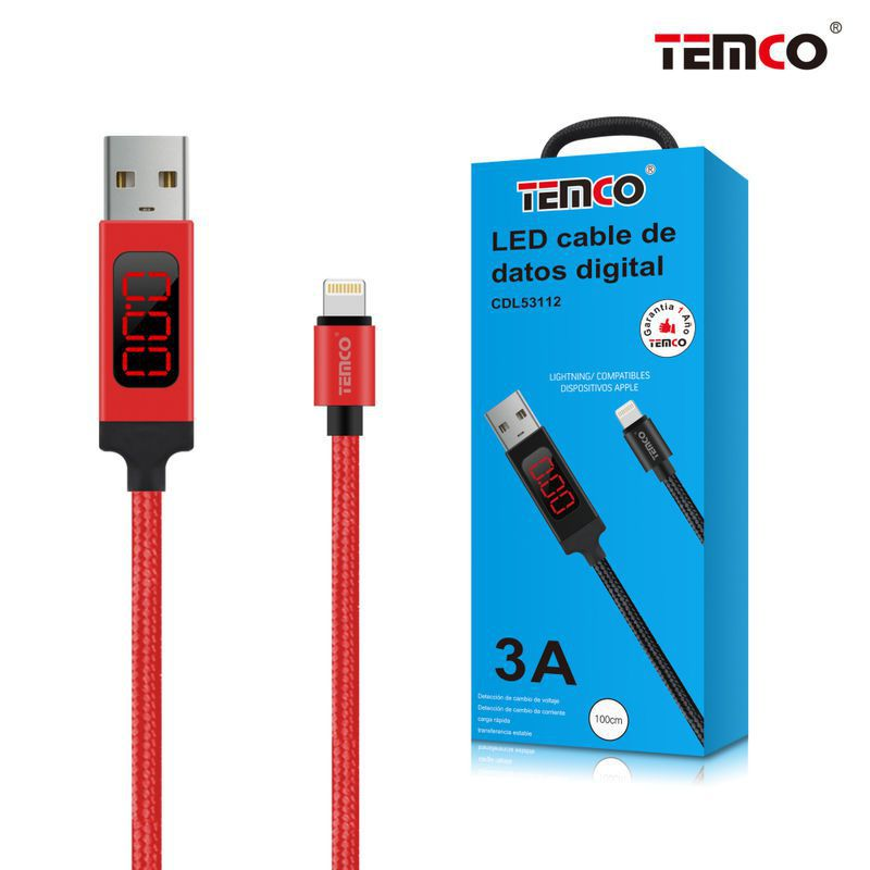 Cable Digital LED 3A 1m Apple Rojo