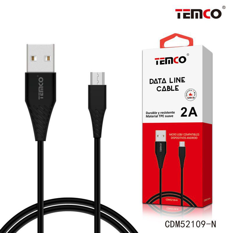 Cable TPE 5V 2A 1M Micro USB 5P Negro