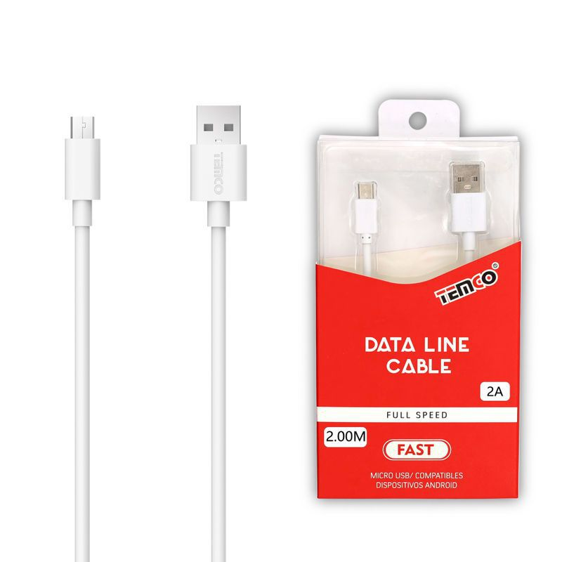 Cable 2A 2m Micro USB 5P Blanco