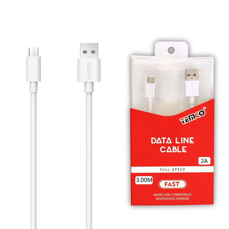 Cable 2A 3m Micro USB 5P Blanco