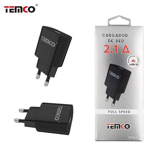 new adaptador cargador red u5v2.1a negro