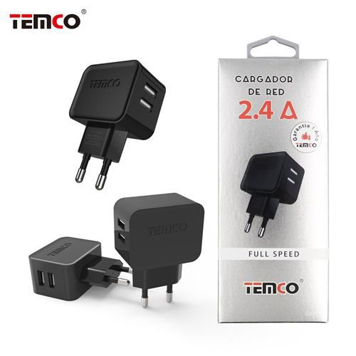 new adaptador cargador red u5v2.4a negro