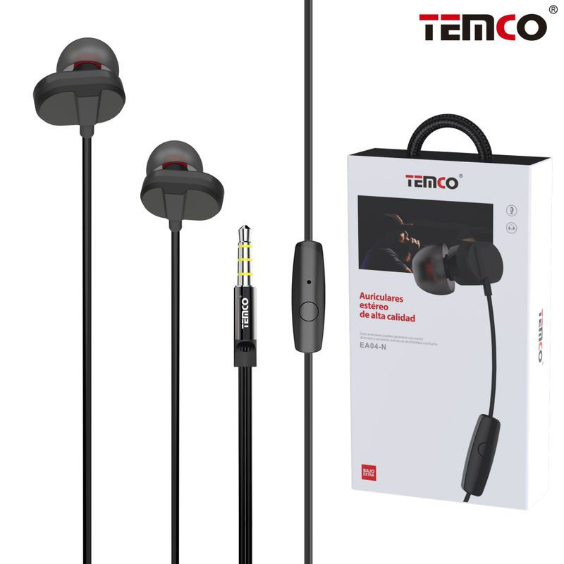 Auriculares Intrauditivos Metál. Mic 3.5mm Negro