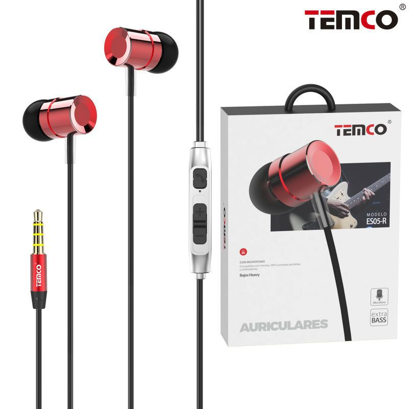 Metallic headphones with Mic ES05 Red