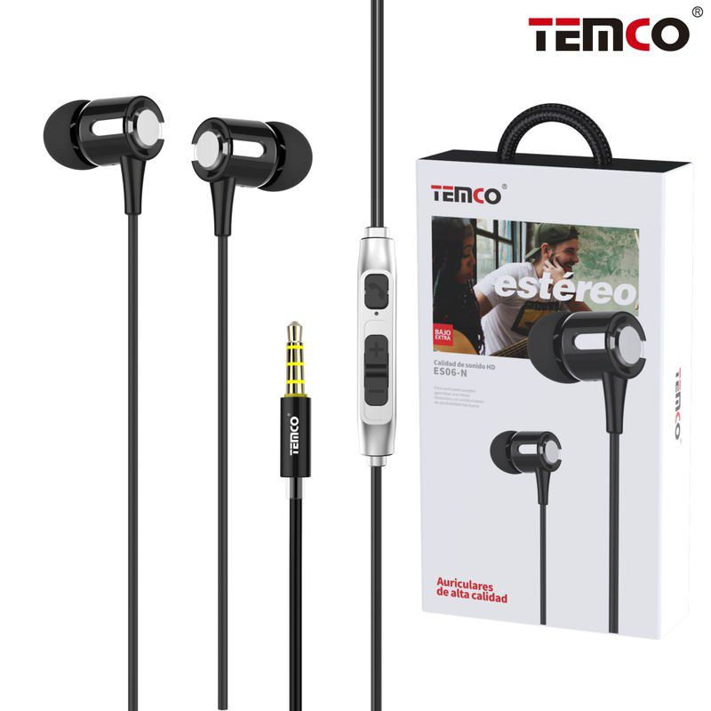 Auriculares Intrauditivos Metál. 3,5MM Negro