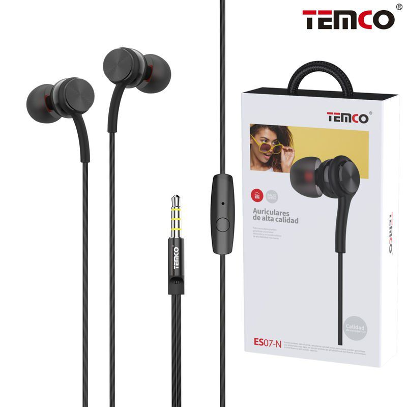 Headphones Intrauditive Metal. 3.5MM Mic Black
