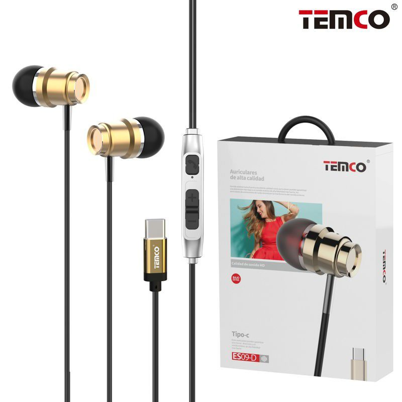 Type-C Metallic Intraud Headphones Gold