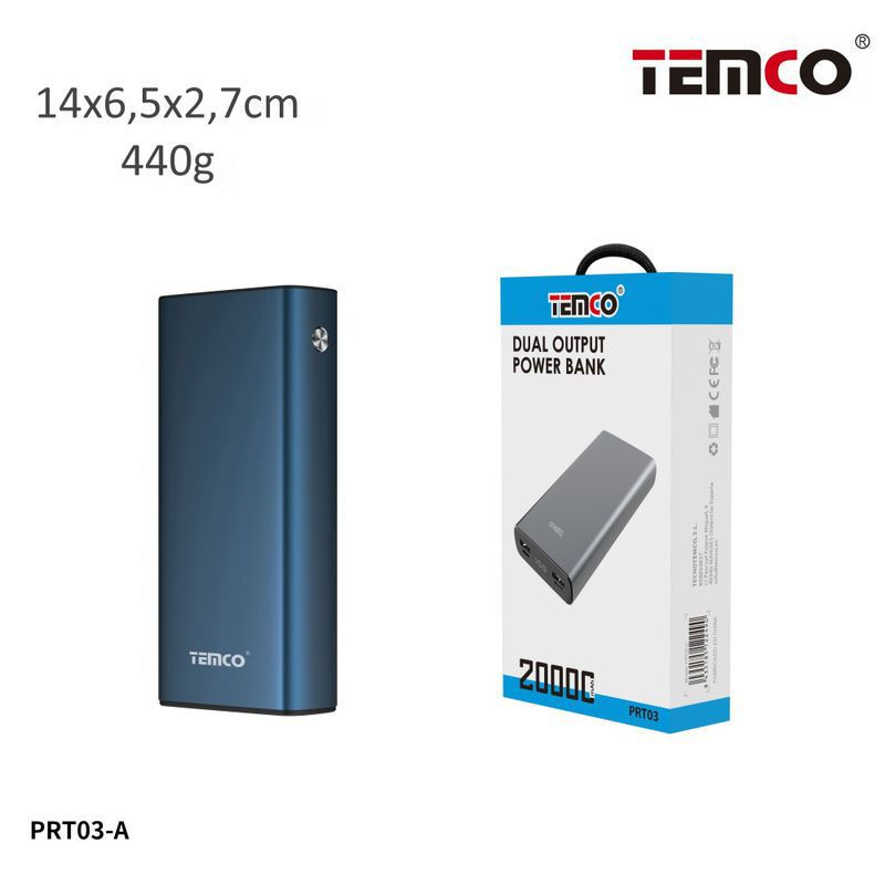 Metal external battery 20000mAh 2.1A Blue