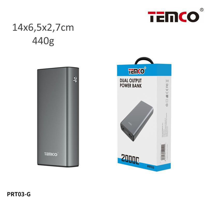 Metal external battery 20000mAh 2.1A Gray