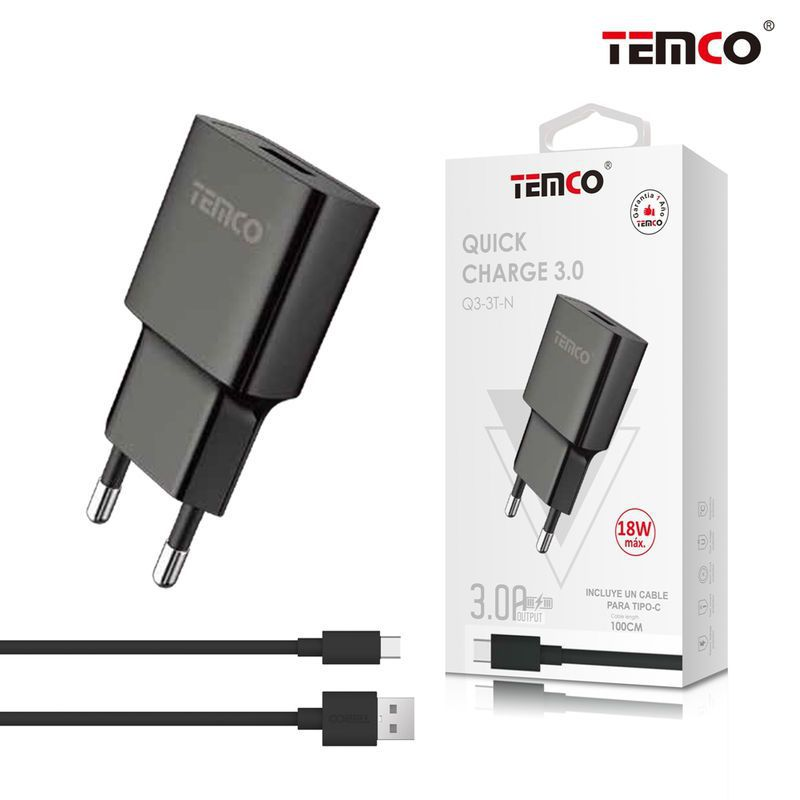 Charger QC 3.0 + Type C 5V 3A Black