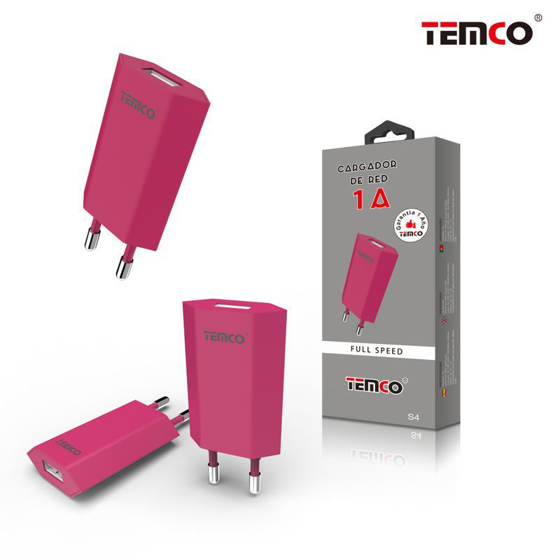 Red 1A Charger Adapter Pink
