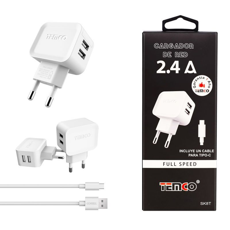 New Charger U5V2.4A + Type C 5V2A White