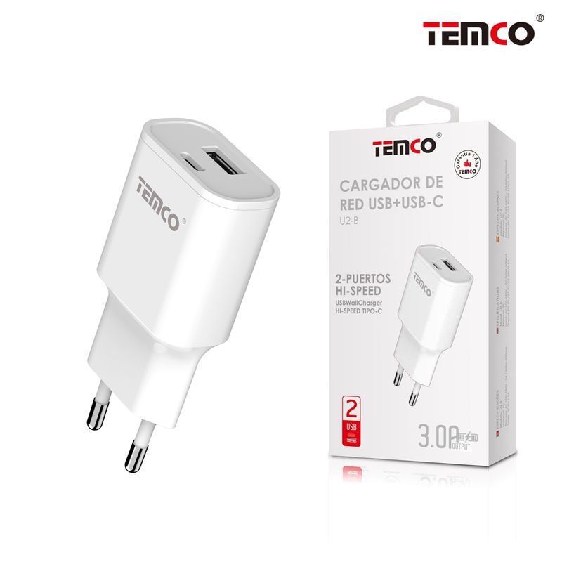 Cargador Red 3A (USB + USB-C) Blanco