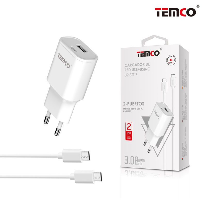 Pack Carg. Red (USB+USB-C) 3A + USB-C 3A Blanco