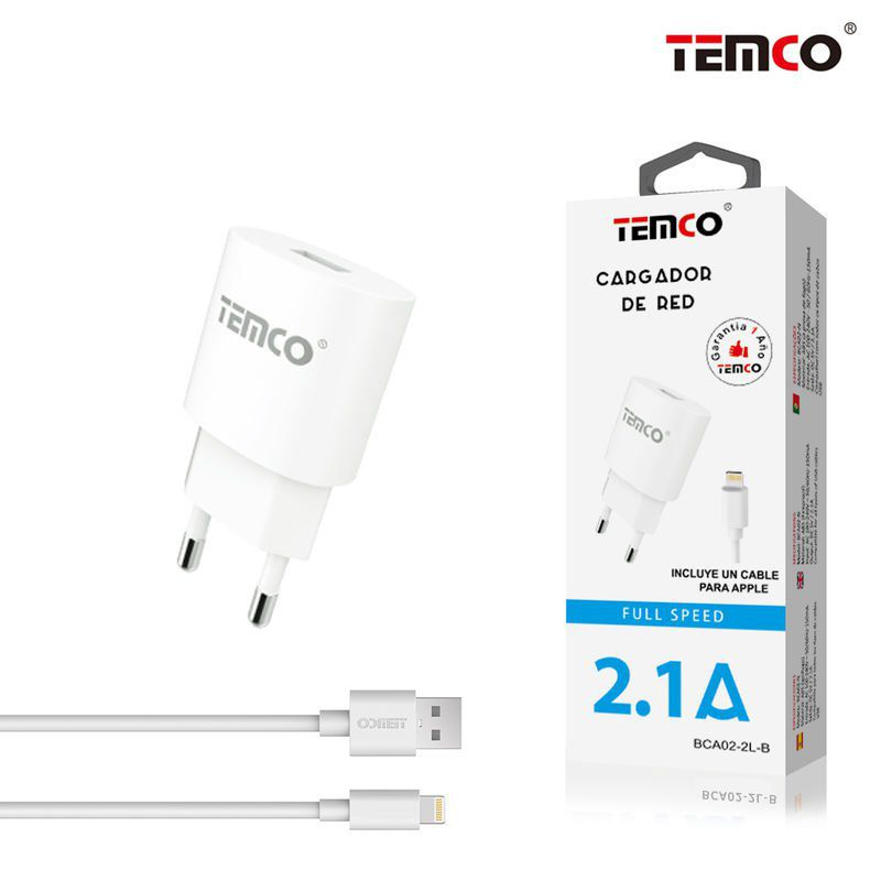 new cargador u5v2.1a + apple  5v 2a 1m blanco