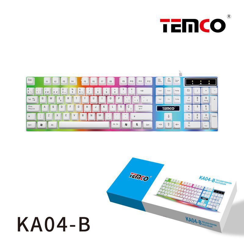 teclado con luces multicolor blanco