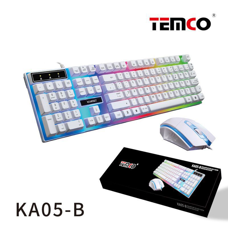 kit teclado con luces multicolor y ratón blanco