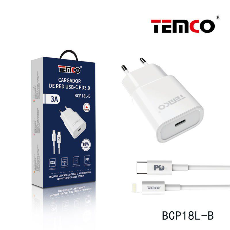 Pack Cargador USB-C PD18W + Lightning 3A 1m Blanco