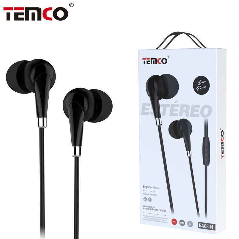Auriculares 3,5mm EA08 Negro