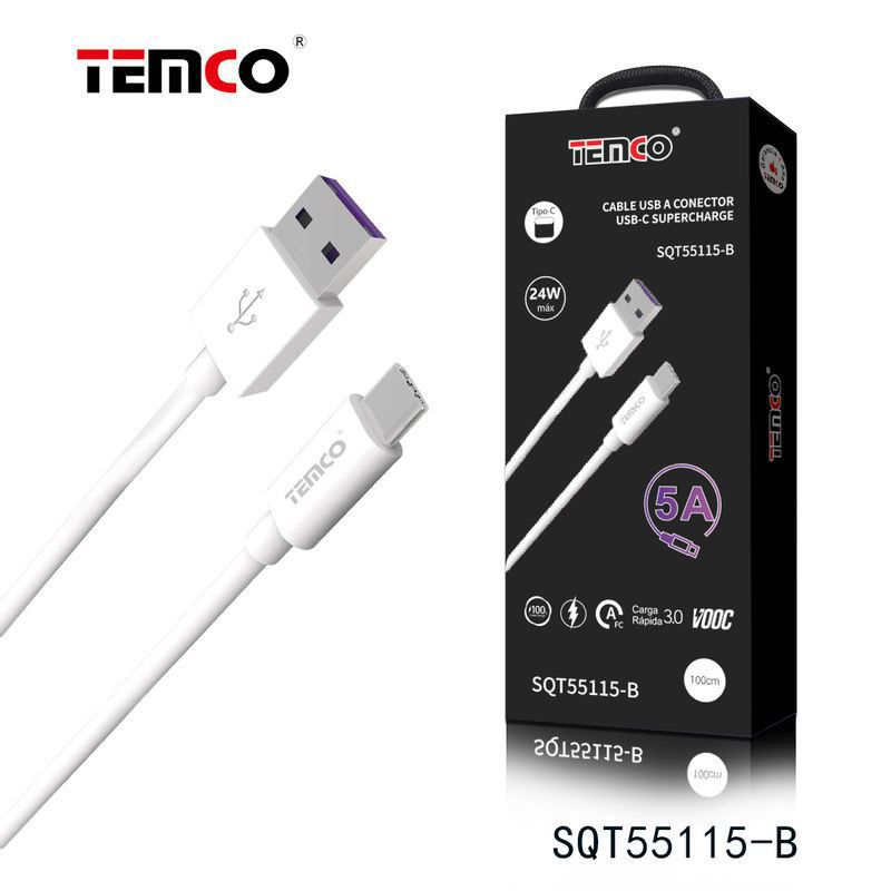 cable tipo-c supercharge 5p 5a 1m 24w blanco