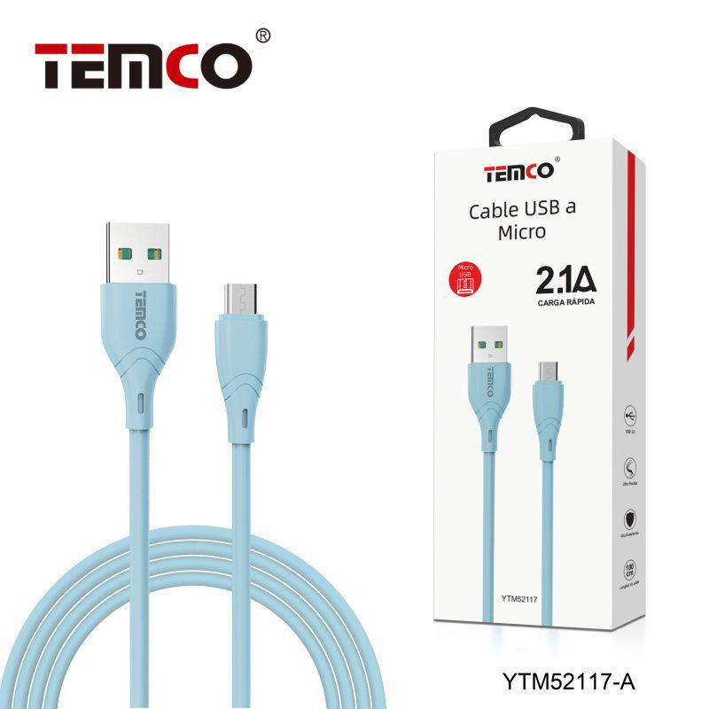 Cable 2.1A 1m Micro USB Azul