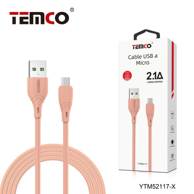 Cable 2.1A 1m Micro USB Rosa