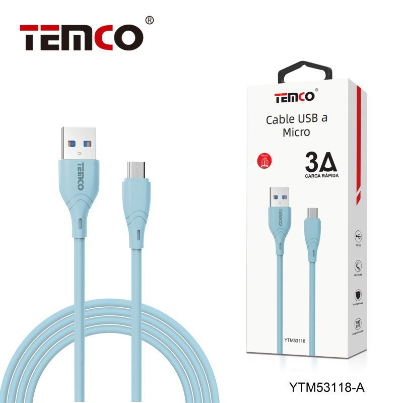 Cable 3A 1m Micro USB Azul