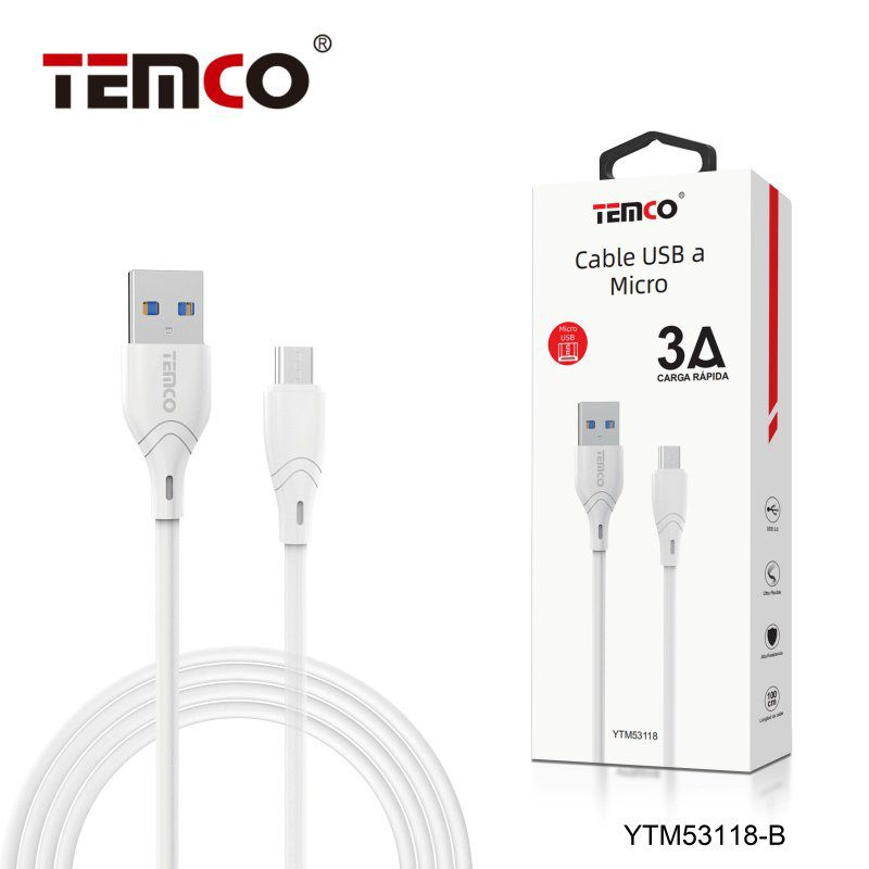 Cable 3A 1m Micro USB Blanco