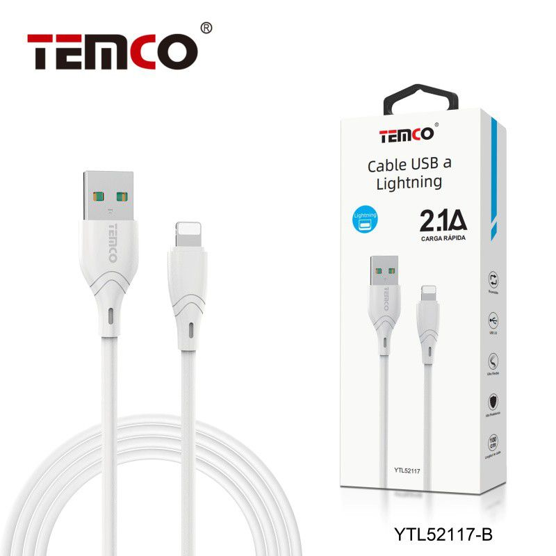 Cable 2.1A 1m Lightning Blanco